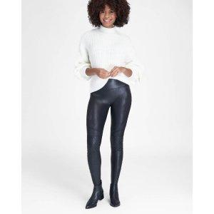 Spanx修身皮质打底裤