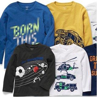 $3.97限今天:Carters官网 儿童T恤 Doorbuster 促销