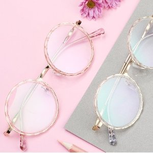 DualensRing | Round Pink Clear Glasses | Prescription Glasses Online | Dualens