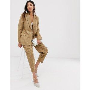 camel stripe suit blazer with popper fastening | ASOS