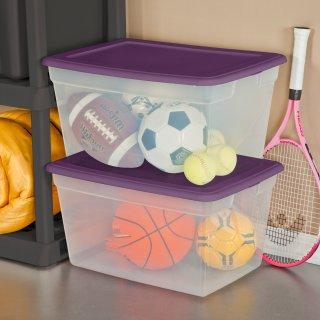 Sterilite, 58 Qt./55 L Storage Box, Moda Purple, Case of 8