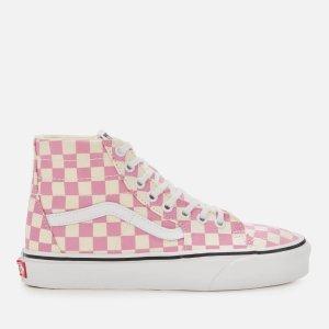 Vans粉色格纹高帮滑板鞋