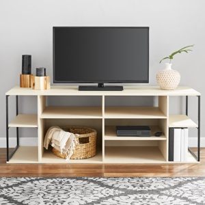Mainstays Kalla Wood And Metal Adjustable Shelf Tv Stand For Tvs Up