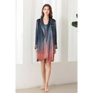 Ecru Emissaryget $25 back with $288Lykke Home   19 Momme Mulberry Starry Robe Dressing Gown
