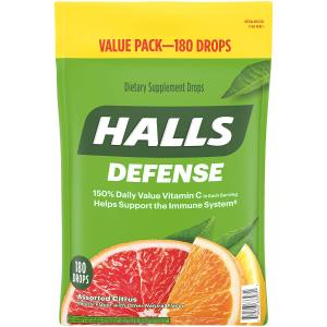 $6.63Halls 什锦柑橘维C润喉糖 180颗 含人体每日所需225%维生素