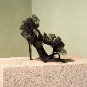 Giuseppe Zanotti剩36-41黑色缎面凉鞋