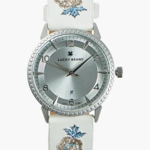 Lucky BrandTorrey Embroidered Leather Watch, 34mm | Lucky Brand