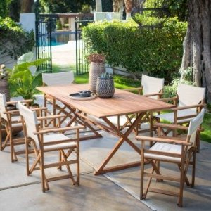 Belham Living Brighton Outdoor Patio Dining Set with Directors Chairs