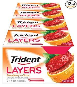 $6.74 水果味更美味Trident 无糖夹心口香糖 草莓橘子味 14x12条