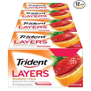 $5.79Trident Layers Sugar Free Gum (Wild Strawberry & Tangy Citrus, 14-Piece, 12-Pack)