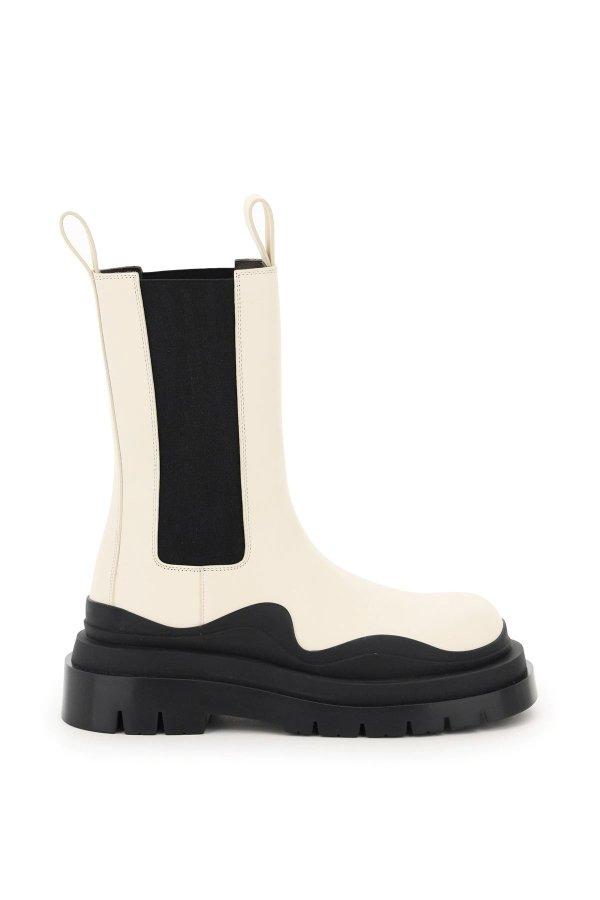 奶油白厚底靴