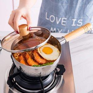 仅售€29.99 一人食必备FJNATINH 20cm雪平锅 锤状网状结构 加热快防溢出 带锅盖
