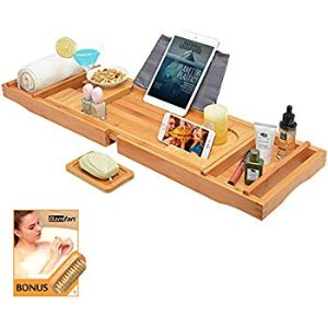 BAMBUROBA Bathtub Caddy Tray Bamboo Bathroom Organizer with Expandable Sides Holder for Book Glass Towel: Home & Kitchen