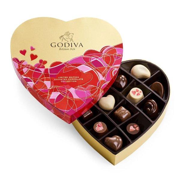 情人节巧克力14颗心形礼盒