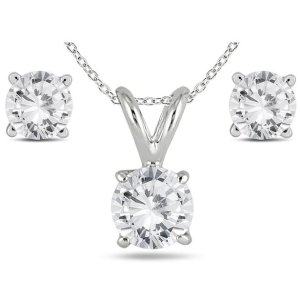 Szul14K White Gold 1 Carat TW Diamond Pendant and Earring Matching Set