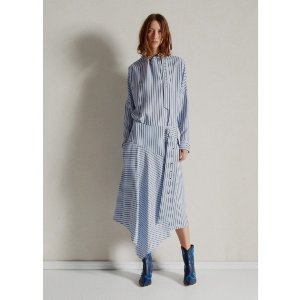 TibiViscose Stripe Asymmetrical Drape Skirt