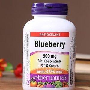 $10.9(原价$13.99)Webber Naturals Blueberry 36:1 天然蓝莓浓缩护眼胶囊