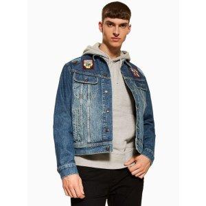 TopmanMid Washed Badged Denim Jacket