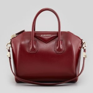 Givenchy Antigona Small Shiny Box Satchel Bag, Burgundy