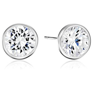 b8f06476a Sterling Silver Round Cut Cubic Zirconia Stud Earrings @ Amazon ...