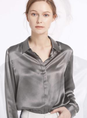 Basic Consealed Placket Silk Shirt With Longer Hem In The Back