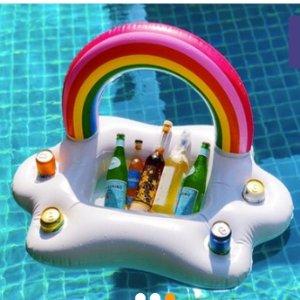 $37.31(原价$99)彩虹充气泳池Bar 充气托盘 饮料水果随意放 拍照都是INS风
