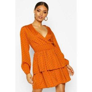 Boohoo橙色连衣裙