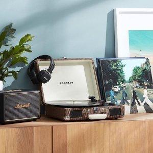 全场75折 欧阳娜娜VLOG推荐CROSLEY 黑胶唱片机 带蓝牙音响 深受老爸的喜爱 复古有格调