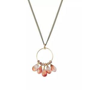 Oliver BonasMeridian Red Teardrop Beads & Circle Pendant Necklace | Oliver Bonas