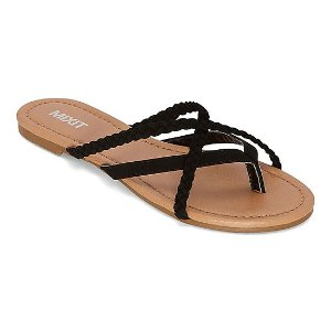 Womens Strappy Braided Flip-Flops