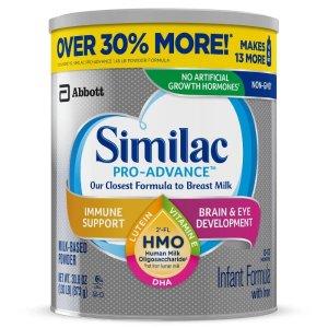 Similac买2送$10礼卡Pro-Advance 非转基因因而奶粉 30.8盎司