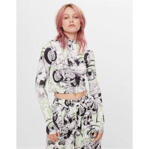 Billie Eilish x Bershka 黑白长袖T恤