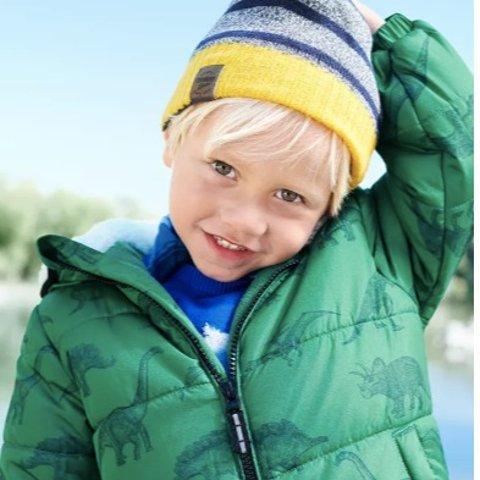 全场低至3折+包邮 封面外套$30 雪裤$18折扣升级:OshKosh BGosh 新款秋冬厚款服饰及相关配件等特惠 双面可穿款$19.5