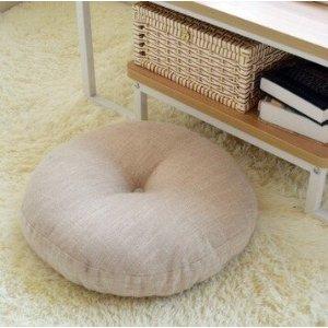 天然亚麻色圆形坐垫