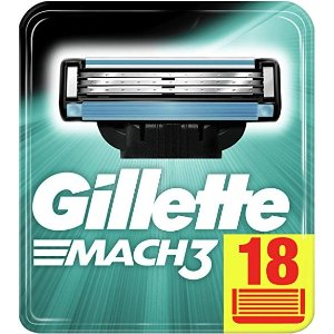 Gillette3层刀片 18个替换刀头Gillette Mach3 剃须刀片 18片装