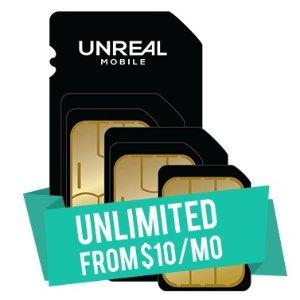 $0.01 激活费Unreal Mobile 无限量手机通信服务试用 + 三合一SIM卡套装