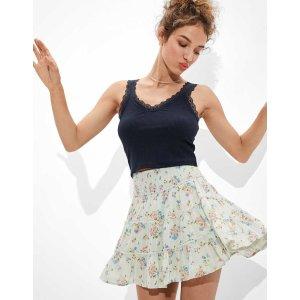 aerieAE Floral Smocked Tiered Mini Skirt
