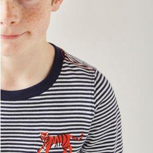 Joules清仓品儿童老虎刺绣条纹T恤