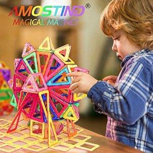 $28.89(原价$36.99)AMOSTING 磁力片64件套 开启创意想象空间 宝贝玩到爱不释手