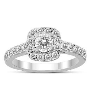现价$444(原价$1249)独家:Szul 精选1克拉10K白金 垫光环钻石戒指热卖