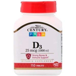 21st Century, D3, 25 mcg (1,000 IU), 110 Tablets