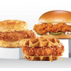 购买礼卡满$20享8折上新:Carls Jr 土豆面包、华夫饼、Biscuit3款炸鸡汉堡 $4起