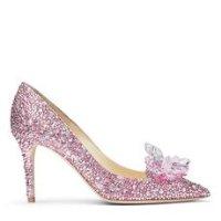 Jimmy Choo 粉色水晶高跟鞋
