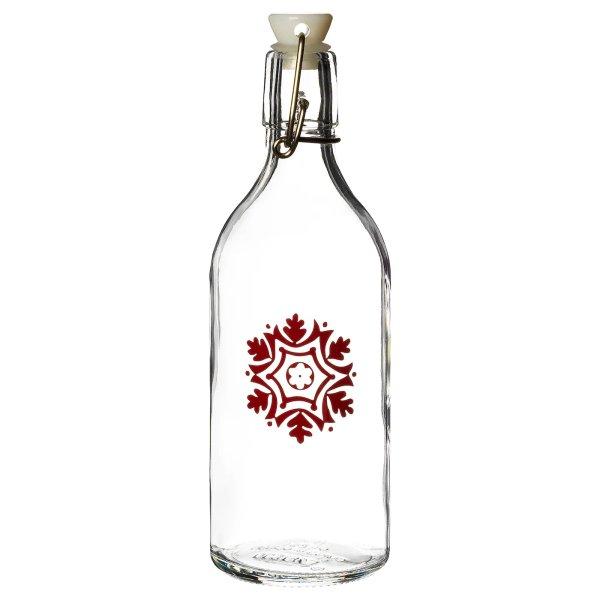 雪花图案玻璃酒瓶