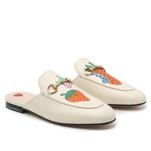 Gucci官网定价$890女士草莓穆勒鞋