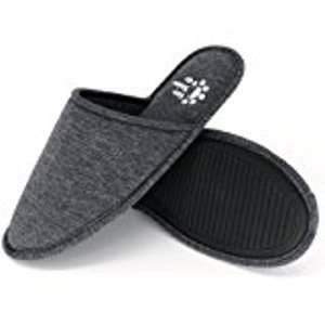Amazon.com | Men's 4 Seasons Cotton Washable Slippers with Matching Travel Bag for Home Hotel Spa Bedroom | Slippers