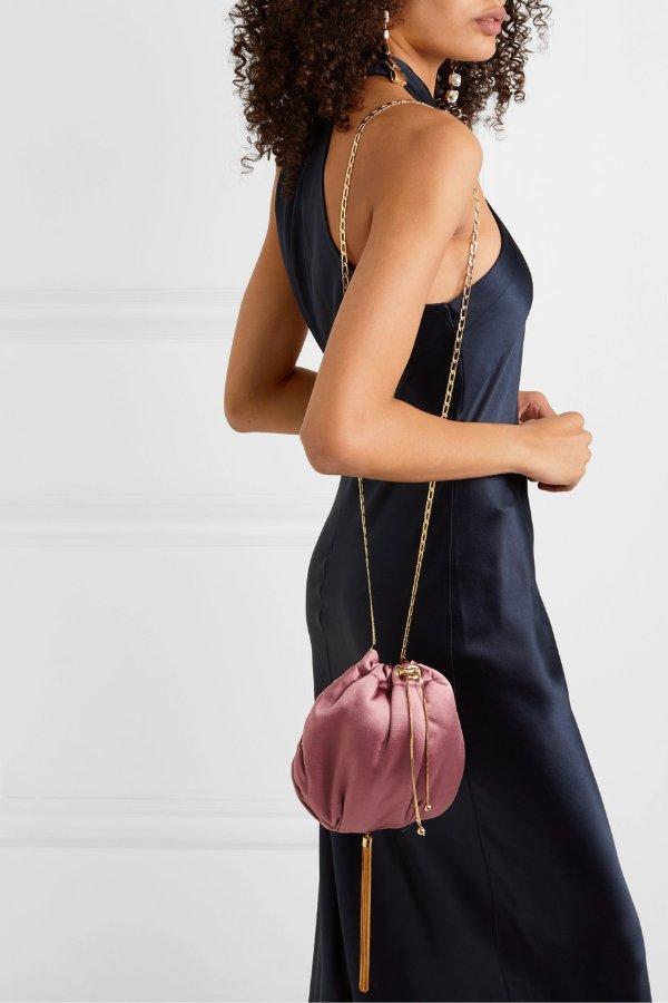 Fatale tasseled 丝绸链条包