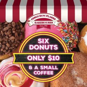 $10 11店通用 12种口味可选Ferguson Plarre Bakehouses 甜甜圈咖啡团购价