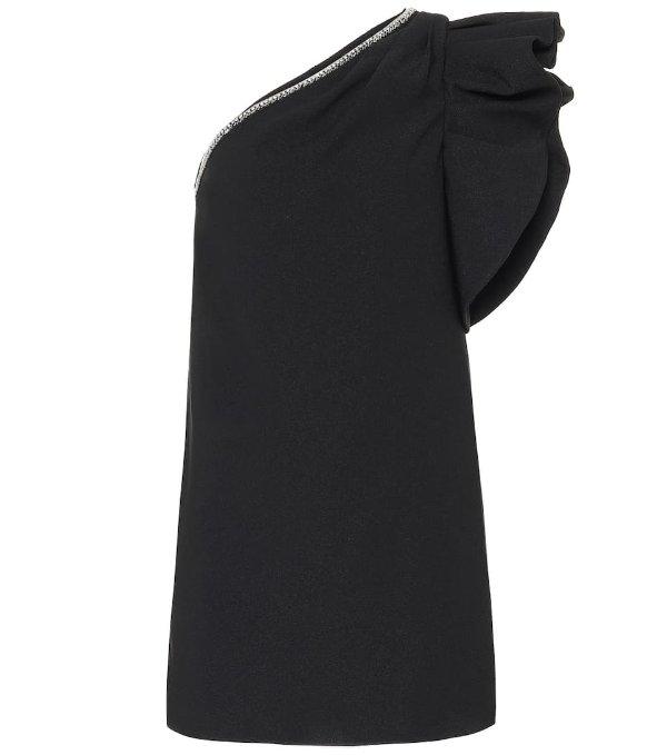 黑色单肩连衣裙