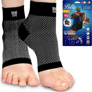 Plantar Fasciitis Compression Socks for Women & Men - Best Ankle Compression Sleeve, Nano Brace for Everyday Use - Provides Arch Support & Heel Pain Relief (Black, Medium)